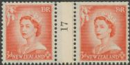 NZ Counter Coil Pair SG 727 1953 3d Queen Elizabeth II Join No. 17 (NCC/190)